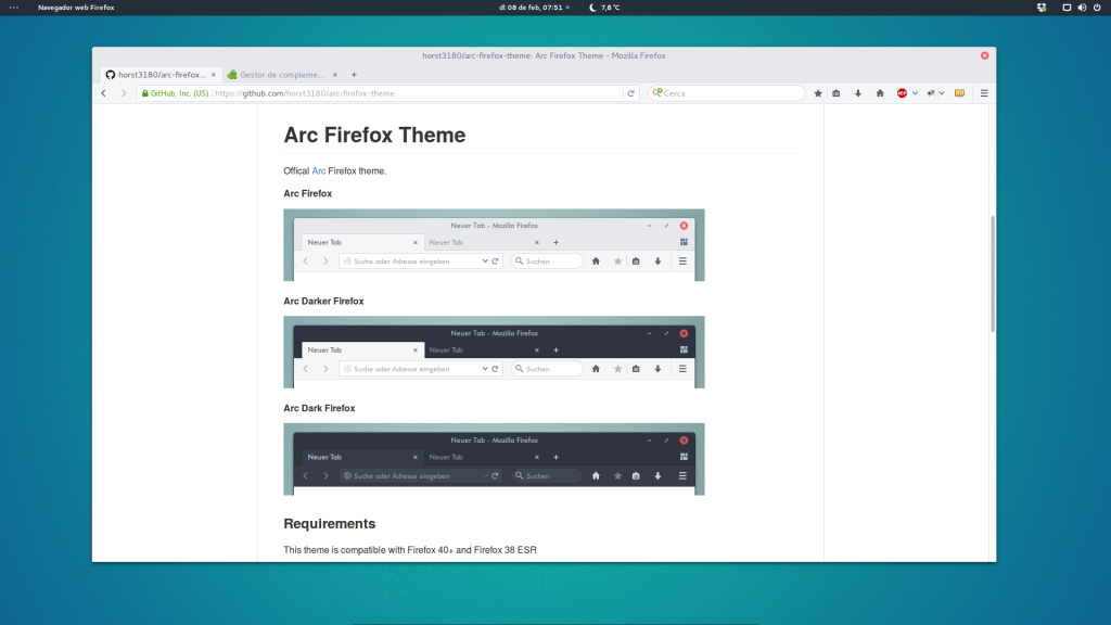 Arc Theme per al Firefox